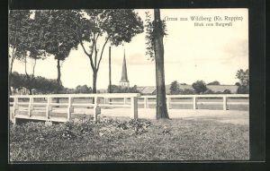 AK Wildberg / Kr. Ruppin, Blick vom Burgwall zur Kirche