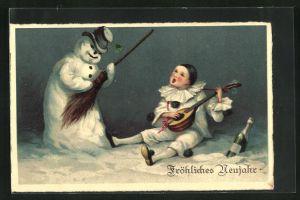 AK Harlekin musiziert zusammen mit dem Schneemann, Fröhliches Neujahr
