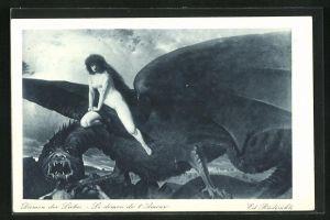 Künstler-AK Eduard Rüdisühli: Nackte Frau reitet auf einem Drachen, Dämon der Liebe