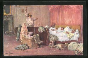 Künstler-AK Max Rabes: Gutes Quartier, Soldaten schlafen zusammen in einem Bett
