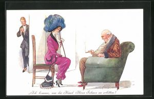 Künstler-AK Fred Spurgin: Dame spricht bei einem Herrn vor, um die Hand des Sohnes zu erbitten