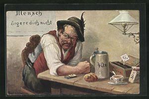 Künstler-AK Max Kuglmayr: Mann im Gasthaus ärgert sich über die Preise von Bier, Brot, Zigarren und Streichhölzern