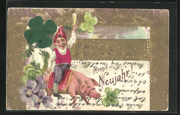 Präge-AK Zwerg reitet auf Glücksschwein, Prosit Neujahr