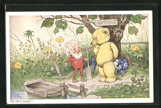 Künstler-AK Fritz Baumgarten: Zwerg lädt den Bären zu einer Bootsfahrt ein