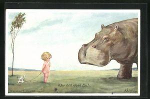 Künstler-AK Willi Scheuermann: Kleines Kind betrachtet das grosse Nilpferd