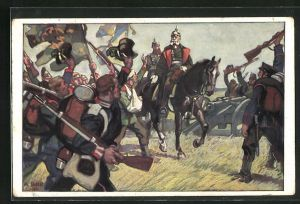 Künstler-AK Angelo Jank: Kaiser Wilhelm I. wird von seinen Soldaten begrüsst