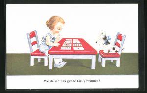 Künstler-AK John Wills: Junge Hellseherin legt ihrem Hund die Karten