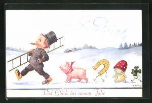 Künstler-AK John Wills: Schwein, Hufeisen, Pilz und Klee folgen dem Schornsteinfeger, Glück im neuen Jahr