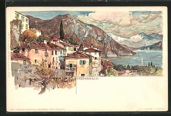 Künstler-AK Manuel Wielandt: Menaggio, Ortsansicht mit Blick auf den See