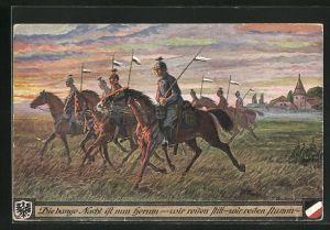 Künstler-AK Fritz Quidenus: Soldaten reiten im Morgenrot, Wappen