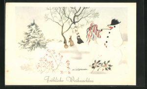 Künstler-AK Willy Schermele: Schneemann in verschneiter Landschaft, Fröhliche Weihnachten