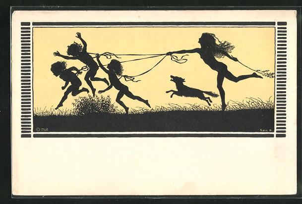 Künstler-AK Fidus: Nackte Kinder springen über die Wiese, Frühlingslust