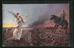 AK Friedensgöttin weist den Tod nach der Schlacht in die Schranken, Lass` es genug sein!