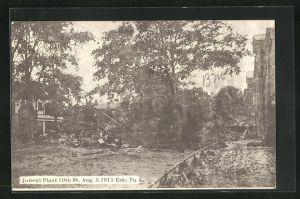 AK Erie, PA, Jarecki Plant 10th Str., Hochwasser im August 1915