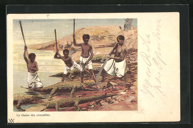 AK Afrikaner auf Krokodiljagd