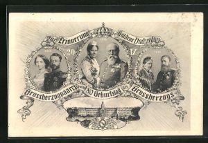AK Zur Erinnerung an die Goldene Hochzeit des Grossherzogpaares und den 80 Geburtstag des Grossherzogs von Baden