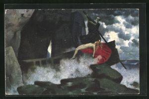 Künstler-AK Eduard Rüdisühli: Ins Reich der Seligen