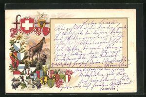 Passepartout-Lithographie Gams mit Wappen der Schweiz