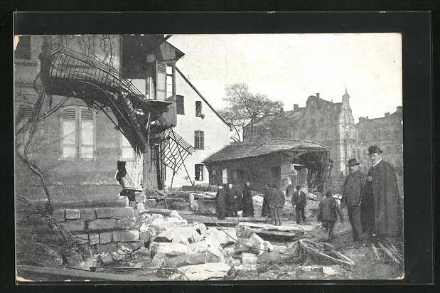 AK Nürnberg, Hochwasser-Katastrophe 1909, Eingestürzte Häuser, Kleinweidenmühle