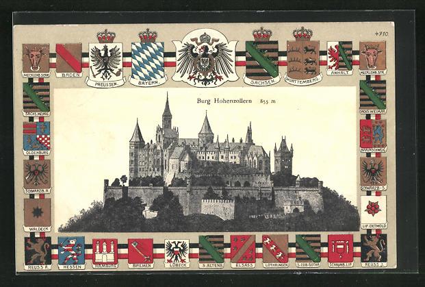 Passepartout-Lithographie Bisingen, Burg Hohenzollern, Wappen von Lübeck, Elsass und Anhalt