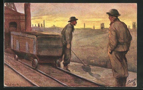 Künstler-AK Das Bergwerk, Kohlearbeiter am Bahngleis