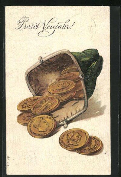 Präge-AK Portemonnaie mit Geldmünzen, Neujahrsgruss