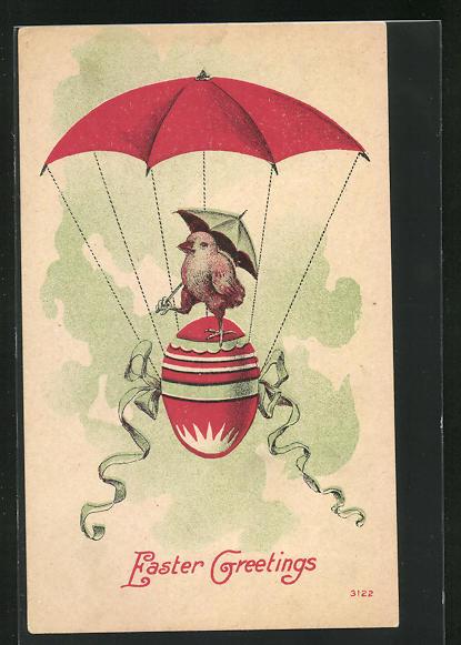AK Osterküken mit einem Fallschirm, Ostergruss