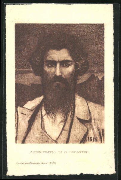 Künstler-AK Giovanni Segantini: Autoritratto di G. Segantini, Portrait des Malers