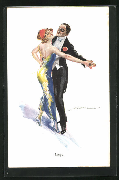 Künstler-AK Luis Usabal: Paar tanz Tango
