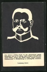 AK Paul von Hindenburg als Negativbild, optische Täuschung
