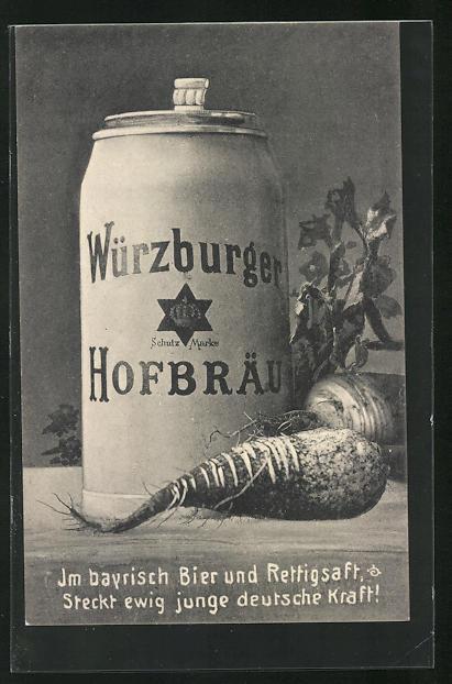 AK Würzburger Hofbräu, Bierkrug und Rettig, Brauerei-Werbung