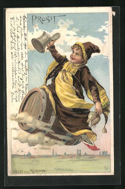Präge-AK Münchner Kindl fliegt auf einem Bierfass