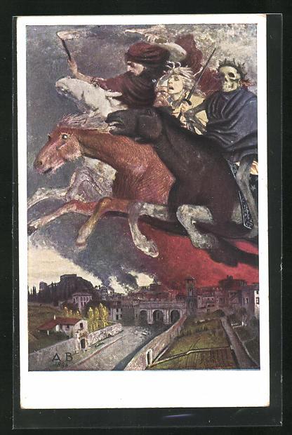Künstler-AK Arnold Böcklin: Der Krieg, Reiter mit dem Tod