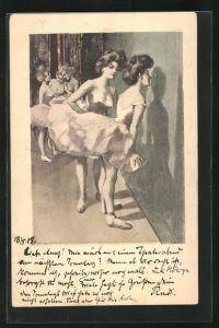 Künstler-AK Simplicissimus, Ferdinand von Reznicek: Balletttänzerinnen hinter der Bühne
