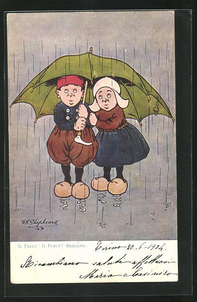 Künstler-AK George Edward Shepheard: Il Pleut Il Pleut..., holländische Kinder unterm Regenschirm