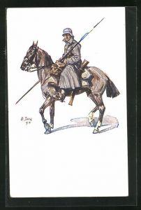 Künstler-AK Angelo Jank: Soldat mit Stahlhelm zu Pferd