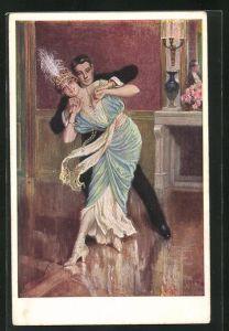 Künstler-AK Franz Kuderna: Elegantes Paar in spielerische Pose beim Ball