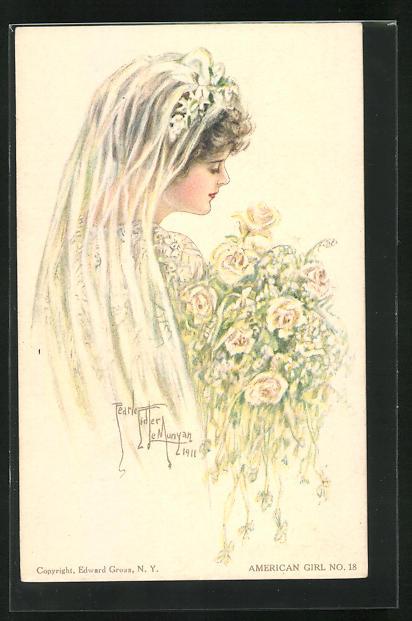 Künstler-AK Pearle Fidler LeMunyan: American Girl No. 18, junge Braut mit Rosen