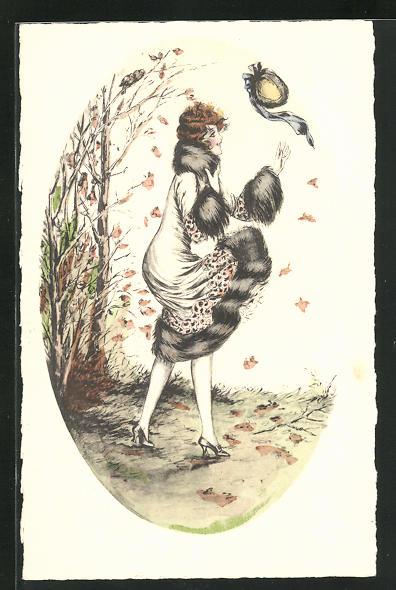 Künstler-AK Junge Dame verliert Ihren Hut im Herbstwind