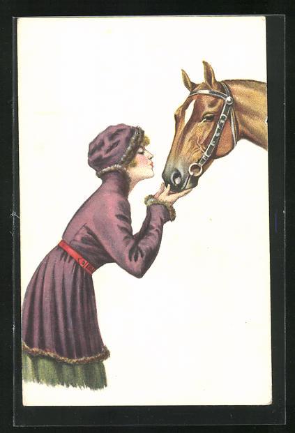Künstler-AK Dame küsst ihr Pferd