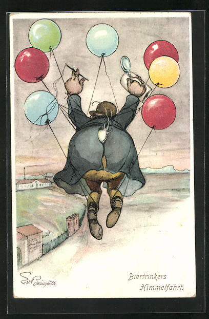 Künstler-AK sign. E. v. Baumgarten: Biertrinkers Himmelfahrt, Trinker hängt an Luftballons