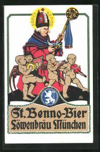 Künstler-AK Otto Obermeier: St. Benno-Bier im Löwenbräu München, Brauerei-Werbung
