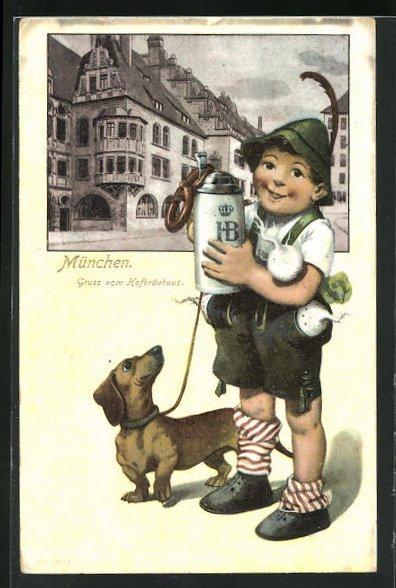 Präge-AK München, Knabe mit Bierkrug und Dackel am Münchner Hofbräuhaus