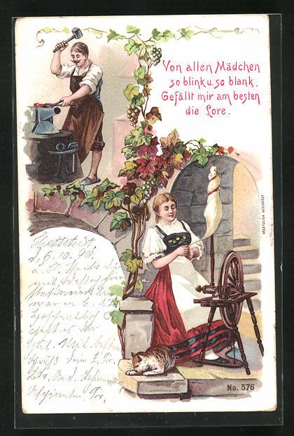 Lithographie Von allen Mädchen so blink u. so blank.., Schmied und Frau am Spinnrad