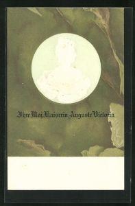 Präge-AK Portrait Kaiserin Auguste Victoria Königin von Preussen als Münzprägung