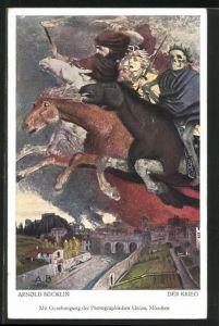 Künstler-AK Arnold Böcklin: Der Krieg, apokalyptische Reiter