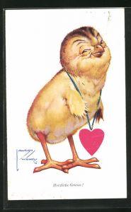 Künstler-AK Lawson Wood: Herzliche Grüsse!, Küken mit Herz