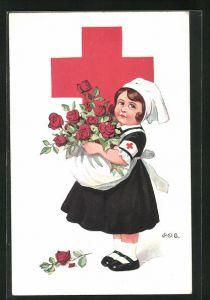 Künstler-AK P. O. Engelhard (P.O.E.): Kleine Krankenschwester, Rotes Kreuz