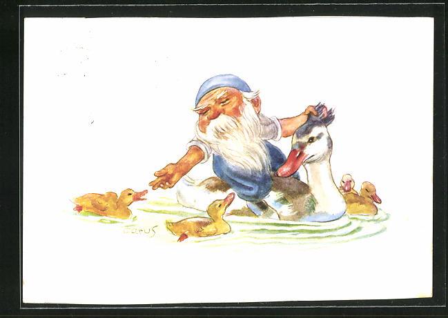 Künstler-AK Carus: Wichtl reitet auf Ente, Zwerg