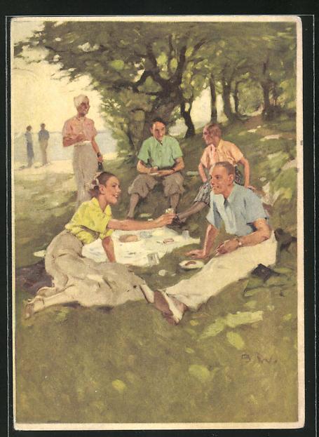 Künstler-AK Brynolf Wennerberg: Indanthren, Picknick